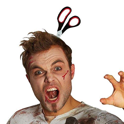 Haarreif Schere im Kopf zum Kostüm an Halloween Karneval Fasching