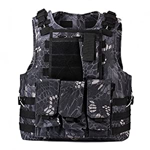 TOMOUNT Airsoft Paintball Combat MOLLE Carrier Vest Outdoor Durable Nylon Protective Vest