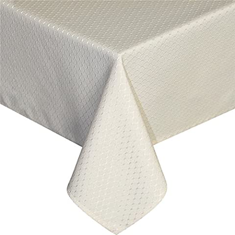 Eurcross Waffle Patterned Tablecloth Rectangular, Spill-Proof and Mildew-Proof Table Cover for Dining Table, Beige, 150 x