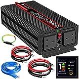 Power Inverter Pure Sine Wave-2000 Watt 12V DC to 230V/240V AC Converter-2AC Outlets