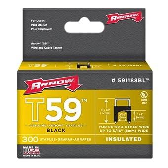 Arrow 160757 T59 Boîte de 300 Cavaliers 17 mm à pont isolant 8 x 6 mm pour câble ø 6 mm Noir