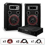 DJ PA-Set DJ-12 1000 Watt mit PA-Verstärker SPL-400 und 500W PA-Boxen Auna XEN-3580 + Kabelset