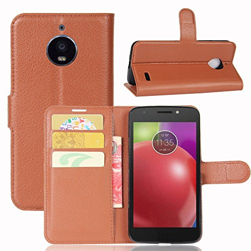 Forhouse Motorola Moto E4 Leather Wallet Case with Pouch Motorola Moto E4 Flip Cover, Pouch, Carry Case Case (Brown) Motorola Soft Leather Carry Case