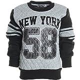 Kinder Pullover Rundhalspullover Hoodie Sweat Jacke Langarm Shirt Winter 20566, Farbe:Grau;Größe:140