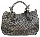 BZNA Bag Rene grey Italy Designer Damen Handtasche Schultertasche Tasche Schafsleder Shopper Neu