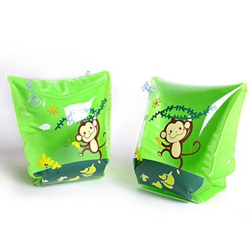 WANGLAI Niedliches Kinder Badehose Double Air Bag Arm Ring-Sicherheit Training Float Ring, Green Cartoon Monkey