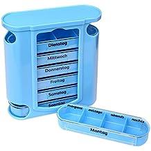 S/o® pastillas Caja azul con cremallera azules 7días IP4PILCASCOV PILL Box Caja Pastillero–Pastillero para cajas de pastillas píldora latas IP4PILCASCOV PILL lata Semana Dosificador