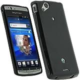 igadgitz Negro Case TPU Gel Funda Cover Carcasa para Sony Ericsson Xperia Arc S Android + Pantalla Protector