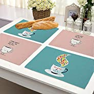 Brick Home Tea and Coffee Digital Printed Table Mat (Set of 4) (Multicolor)