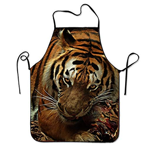 tgyew 2019 Apron Tiger Food Cat Carnivores Adjustable Kitchen Cooking Apron for Adult