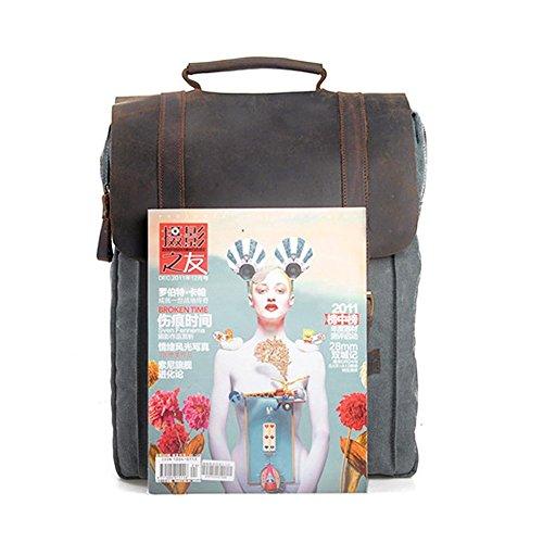 Canvas Rucksack, P.KU.VDSL 15″ Laptoprucksack Vintage Canvas und Leder Schultasche Reisetasche Daypacks Uni Backpack für Outdoor Sports Freizeit (Grau, Laptoprucksack) - 7