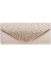 104fcad28a7fa3 CASPAR TA422 elegante Damen Baguette Envelope Clutch Tasche mit Strass