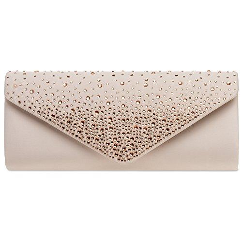 CASPAR TA422 elegante Damen Baguette Envelope Clutch Tasche mit Strass, Farbe:nude;Größe:One ()