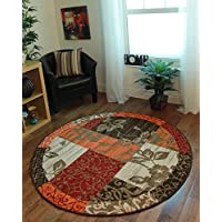 The Rug House Milan Traditioneller Rund Kreis Teppich Mit Patchwork Muster  Für Das Wohnzimmer In
