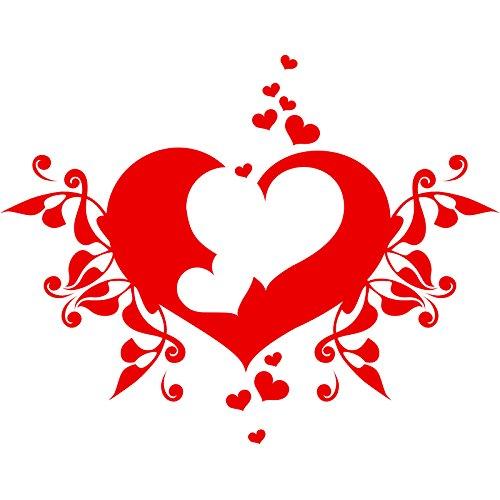 Fancy Lovely Swirl Hochzeit Love Herz (46cm x 60cm) wählen Sie Farbe 18Farben auf Lager Badezimmer, Childs Schlafzimmer, Kinder Zimmer Aufkleber, Auto Vinyl-, Windows und Wandtattoo, Wall Windows Art, Decals, Ornament Vinyl Sticker ThatVinylPlace Rot