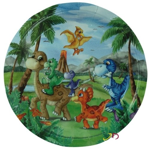 Döll - Set de platos de cartón (diámetro: 23 cm), diseño de dinosaurios, para fiestas