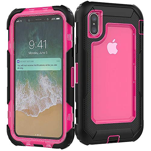 3C-LIFE iPhone XR Heavy Duty Case, Triple Protective Layer Full Body Shockproof Bumper Case with Swivel Belt Clip and Kickstand für (Rosered) Cellular Connection Interface