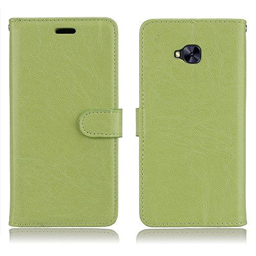 Cozy Hut ASUS ZenFone 4 Selfie Pro Hülle Case Premium PU Leder Schutztasche [3 Card Slots Wallet Case] [Magnetverschluss] [Standfunktion] Handyhüllen Für ASUS ZenFone 4 Selfie Pro - Reines Grün