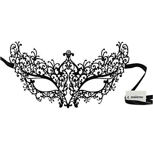 Signstek Laser-Cut Metall venezianischen Maskerade-Maske für Frauen mit Kristallen (schwarz mit (Venezianischen Für Masken Frauen Maskerade)