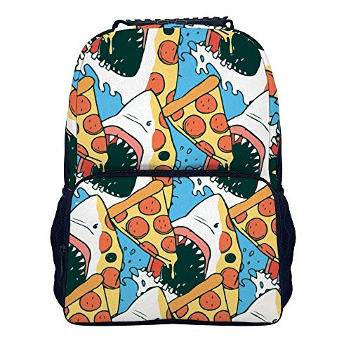 Schulrucksack, Pizza Shark Shoulders Backpack Cool Two Mesh Side Pockets Laptop Bag for Boys and Girls (Side Bag Laptop)