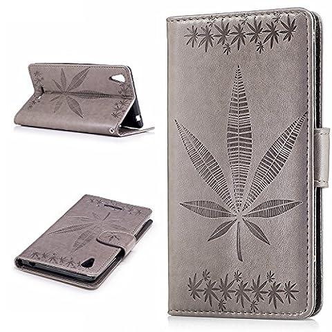 Meet de Sony Xperia T3 Coque gaufrage aescinate PU Cuir Flip Housse Étui Cover Case Wallet Fermeture Aimantée Fonction Portefeuille Support avec Porte-cartes pour Sony Xperia T3 - Six types de couleur unie