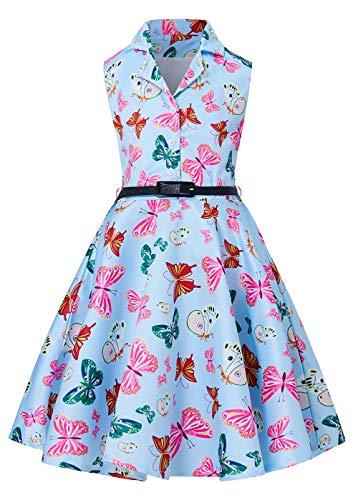 RAISEVERN Vintage Kleider, Mädchen Ärmelloses Retro Kleid Gelb Blau Rot Rosa Grün Schmetterling Gedruckt A-Linie Sommerkleid M für kleine Prinzessin - Mädchen-rosa-jersey-kleid