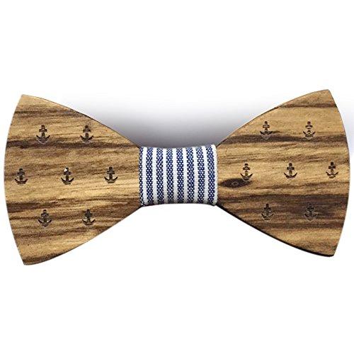 Papillon in legno fatto a mano tessuto Hanami blu + fazzoletto da taschino …