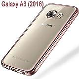 Samsung Galaxy A3 (2016) Schutzhülle Tasche Durchsichtig Transparent - Rand Rosa