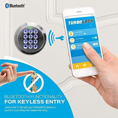 Seguridad avanzada Turbolock sin llave y con bloqueo inteligente - con bloqueo automático, copia de seguridad recargable y fácil instalación