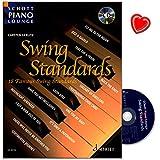Produkt-Bild: Swing Standards - 18 bekannte Melodien für Klavier - Reihe Schott Piano Lounge - Notenbuch mit CD und bunter herzförmiger Notenklammer - Verlag Schott Music ED20115 9783795758295