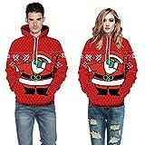 TEBAISE Unisex Realistische 3D Druck Weihnachten Pullover Kapuzen Sweatshirt Kapuzenpullis mit großen Taschen Damen uhd Herren Weihnachtssüßigkeit Geschenk Pullover Fleece Hoodie