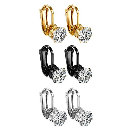 aroncent No Earrings Piercing Women Stainless Steel Clip On Earrings Black Cubic Zirconia Silver Gold Mosaic (3Pairs)