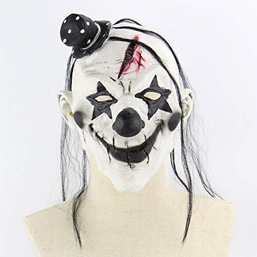 Circlefly Black Hat Dämon Clown Maske Latex Horror unheimlich lustige Maske Halloween Kostüm Ball Perücke (Halloween-kostüme Unheimlich Clown)