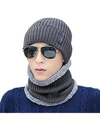 Novawo Bonnet Beanie Unisexe Doublure en Laine Épais Chaud Chapeau en Tricot avec Écharpe Chaude