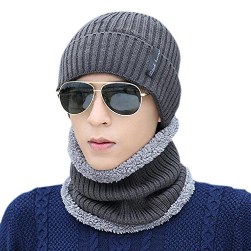 Novawo-Unisexe-Beanie-Mtze-mit-Teddyfleece-Innenfutter-Verdickte-Warme-Kopfkappe-Strickmtze-mit-Warmem-Schal