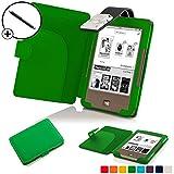 Forefront Cases® Tolino Page Shell Hülle Schutzhülle Tasche Bumper Folio Smart Case Cover Stand mit LED Licht - Leicht mit Rundum-Geräteschutz inkl. Eingabestift (Grün)