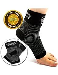 veluxio pour cheville et pied de compression pour fasciite plantaire/Chaussettes (1Paire) avec support Talon et voûte plantaire