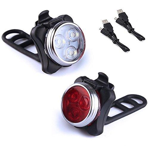 Fahrradlicht LED Set, Fahrradbeleuchtung Hinten Bike Light Fahrradlampe Batterie Aufladbar Kinder Vorne Rücklicht Frontlicht CE Zugelassen Rot