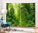 Yifengjubao Vorhänge 3D-Vorhänge 3D-Dschungel Schalldämmung Wärmedämmung Schattierung Hauptdekor-Schlafzimmer 2 Platten,Width264*High241cm