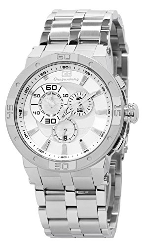 Grafenberg Men's Quartz Watch with White Dial Analogue Display and Silver Stainless Steel Bracelet GB203-181