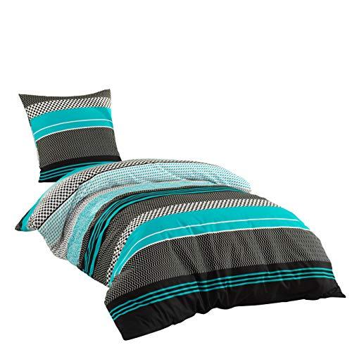 Sentidos Bettwäsche-Set 2-teilig Renforcé Baumwolle 135x200 cm Bett-Bezug, 80x80 cm Kissen-Bezug Bett-Garnitur türkis/schwarz/weiß