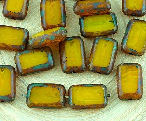 Amber Glas Schneiden (8pcs Picasso Brown Crystal Yellow Amber Opal Tisch Geschnitten, Flachen Rechteck Tschechische Glasperlen 8mm x 12mm)