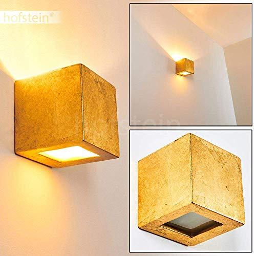 Wandlampe Noto aus Keramik in Gold, Wandleuchte mit Up & Down-Effekt, 1 x E27-Fassung, max. 60 Watt, Innenwandleuchte in Blattgold-Optik, geeignet für LED Leuchtmittel