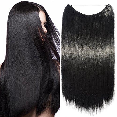 Extension per capelli lunghi lisci pezzo unico con filo trasparente 60cm - one piece hair extensions 3/4 full head, nero