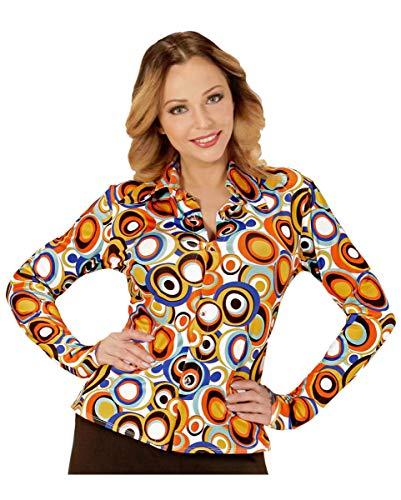 Girl Groovy Kostüm Disco - Horror-Shop 70er Jahre Bubbles Bluse als Damenkostüm für Fasching L/XL
