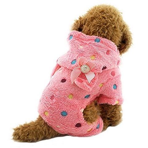 ranphy Kleiner Hund Kleidung für weiblich Stecker Bunte Punkte Samt Hoodie Vierbein Jumpsuit Pet Winter (Rosa Camo Hund)