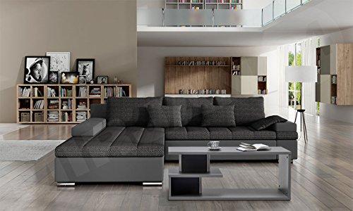 Design Ecksofa Bangkok, Moderne Eckcouch mit Schlaffunktion und Bettkasten, Eckcouch für Wohnzimmer, Gästezimmer, Couch L-Form, Wohnlandschaft, (Eckcouch Links, Soft 029 + Majorka 03) - 2