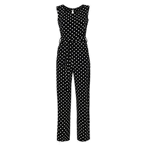 Eleganter Laeticia Dreams Damen Overall Jumpsuit Einteiler S M L XL XXL, Farbe:Schwarz/Weiß Punkte Groß;Größe:42