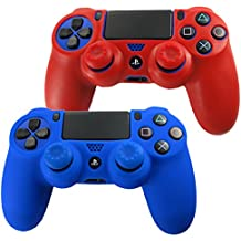 Pandaren® Piel Fundas Protectores para el Mando PS4 x 2 + pulgar agarre thumb grip x 4(rojo + azul)