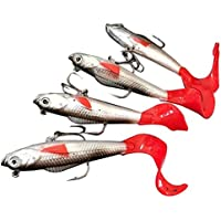 Hrph 4 Pcs Lead Head Soft Fishing Lures Long Tail Pesca Sharp Hook Soft Fish Bait 10cm 9.3g